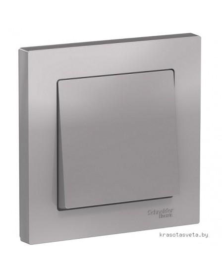 Выключатель одноклавишный Schneider Electric ATLASDESIGN алюминий в сборе ATN000312