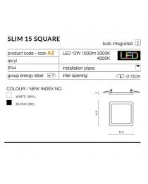 Встраиваемый влагозащищенный светильник Azzardo SLIM SQUARE IP44 AZ2836