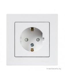 Розетка с заземлением со шторками Schneider Electric ATLASDESIGN белый в сборе ATN000144
